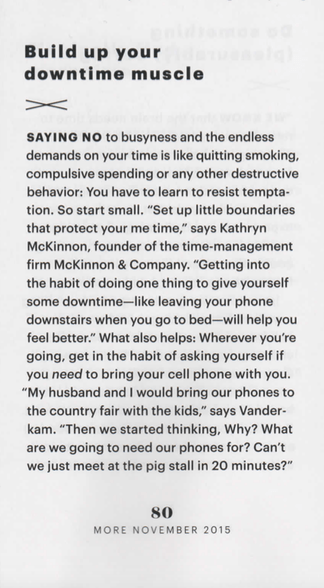 Excerpt from MORE Magazine featuring Kathryn McKinnon in How to Make Time for Yourself without Guilt