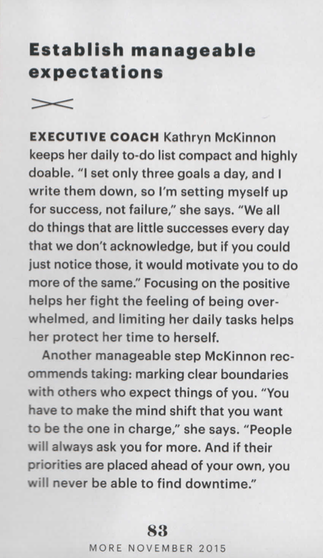 Time Management Executive Coach Kathryn McKinnon Featured in MORE Magazine